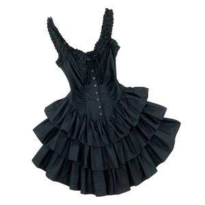 Betsey Johnson Corset Ruffle Tiered Rumba Dress